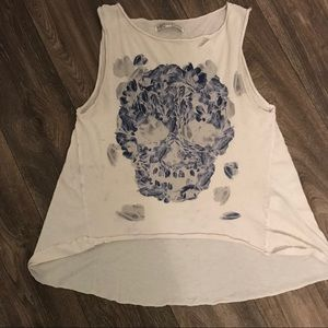 All Saints Relaxed Ripped Graphic Tank Top